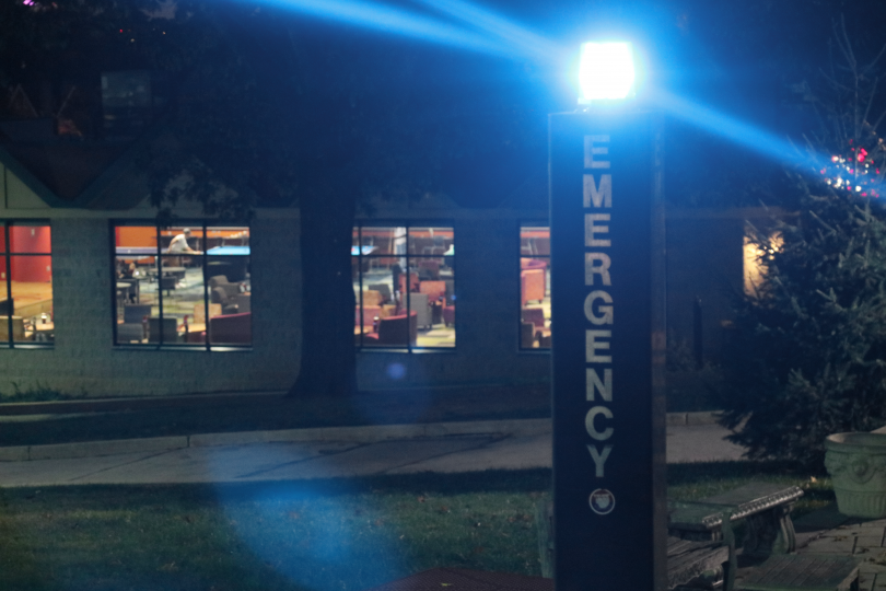 Blue light emergency phone located outside of the Campion Student Center. (Photo by Joey Toczylowski, '19)
